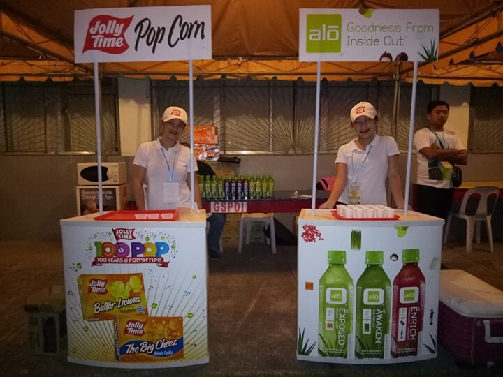 Jollytime Popcorn and Alo Juice booth